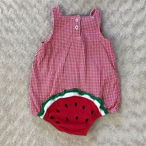 First Impressions One Pieces - First Impressions Watermelon Romper Gingham Red